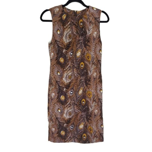 Item - Cream Brown Peacock Feathers Print Silk Work/Office Dress Size 2 (XS)