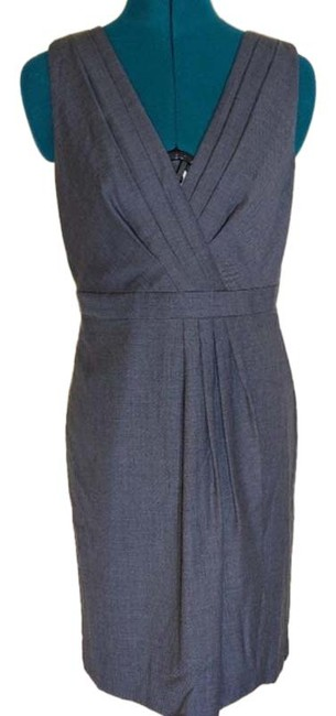Item - Gray Wool Pleated Front Mid-length Work/Office Dress Size 6 (S)