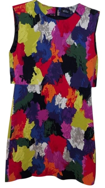 Item - Red Yellow Saturday Multi Print Overlay Mini Short Casual Dress Size 0 (XS)