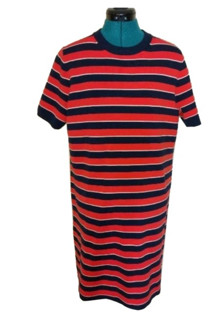 Item - Red Black Stripped Re-imagine Wool Sweater Mid-length Short Casual Dress Size 12 (L)
