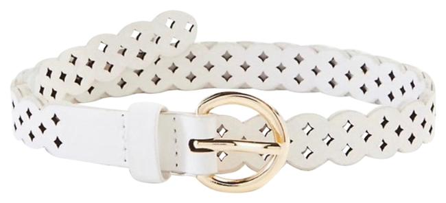 """Item - White Perforated Skinny Size S(38"""") Belt"""