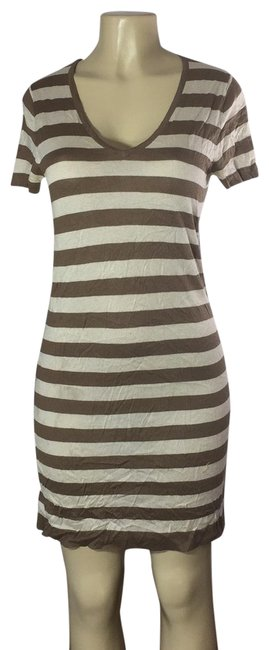 Item - Ivory/Brown Sexy Mid-length Short Casual Dress Size 4 (S)