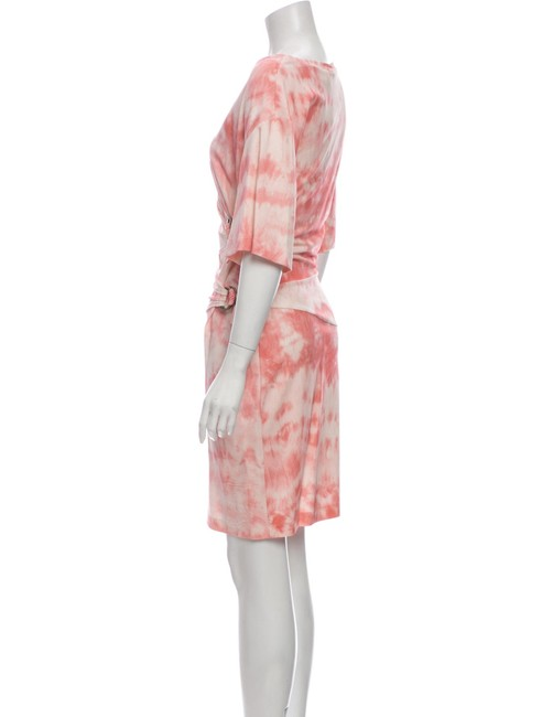 Item - Pink Knitted Tie-dye Made In Italy Mid-length Short Casual Dress Size 6 (S)