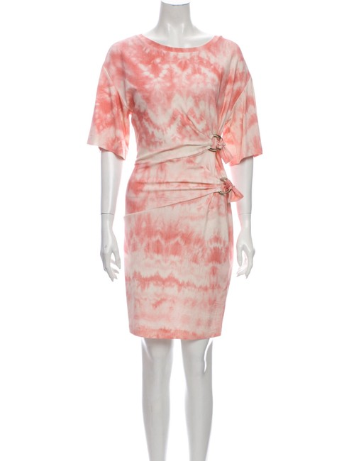 Item - Pink Knitted Tie-dye Made In Italy Mid-length Short Casual Dress Size 10 (M)