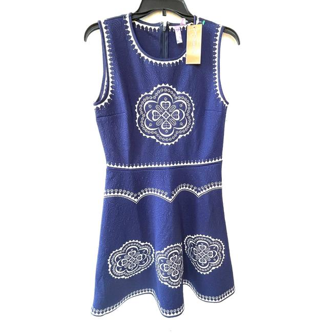 Item - Blue And White Embroidered Skater Short Casual Dress Size 8 (M)
