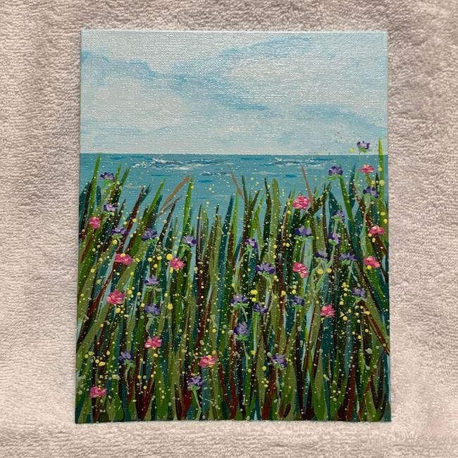 Item - Green / Blue Wildflowers By The Sea Floral Art Painting Decoration