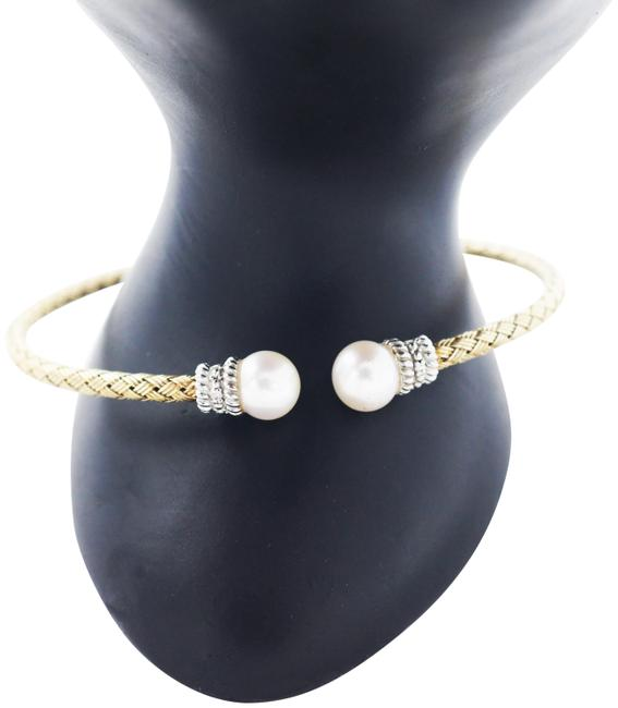 Item - 925 Sterling Silver Mesh Cuff with Pearl and Diamonds Bracelet