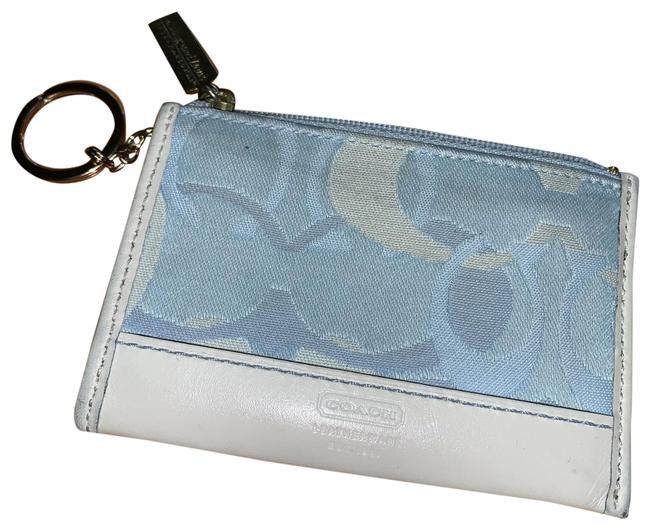 Item - Blue & White W Sky Blue/White Optic Signature Mini Skinny Coin Purse W/Key Ring Wallet