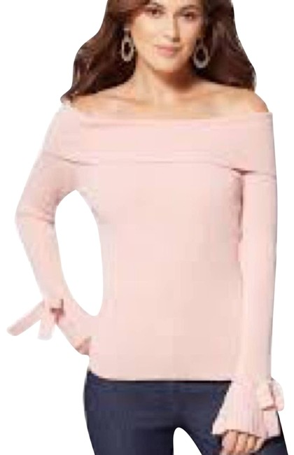 Item - Women's Pink Ribbed-knit Off-the-shoulder Gold Sweater