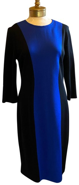 Item - Blue and Black Milano Knit Color Mid-length Work/Office Dress Size 10 (M)