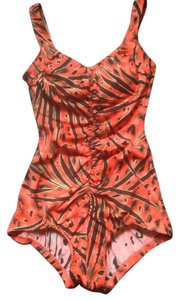 Maxine of Hollywood Maxine Animal Kingdom Shirred Front 1-piece Orange/Black Swim/Bathing Suit Sz 8