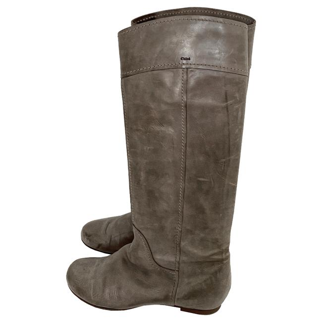 Item - Gray Tan Round Toe Heloise Leather Tall Riding Boots/Booties Size US 9.5 Regular (M, B)