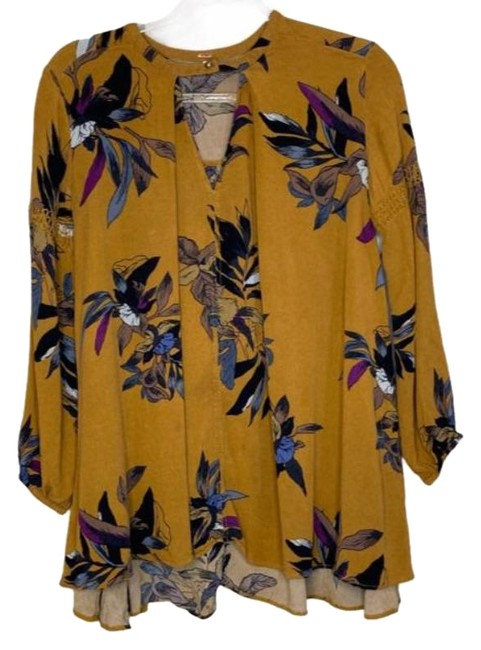 Item - Tan Floral Leaf Oversized Blouse Tunic Size 4 (S)
