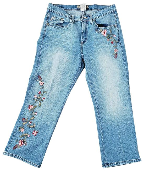 Item - 12 Floral Embroidered Crop Capri/Cropped Jeans Size 34 (12, L)