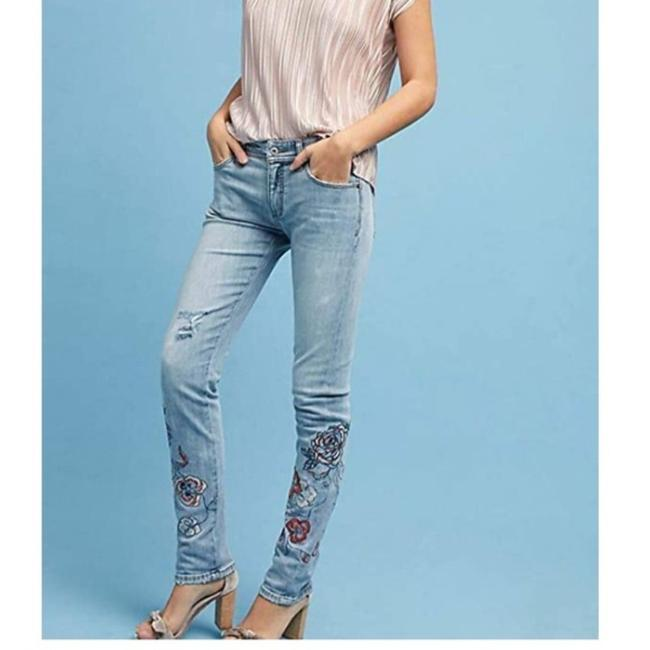 Item - Pilcro and The Letterpress Blue Pink Medium Wash Slim Floral Embroidered Boyfriend Cut Jeans Size 27 (4, S)