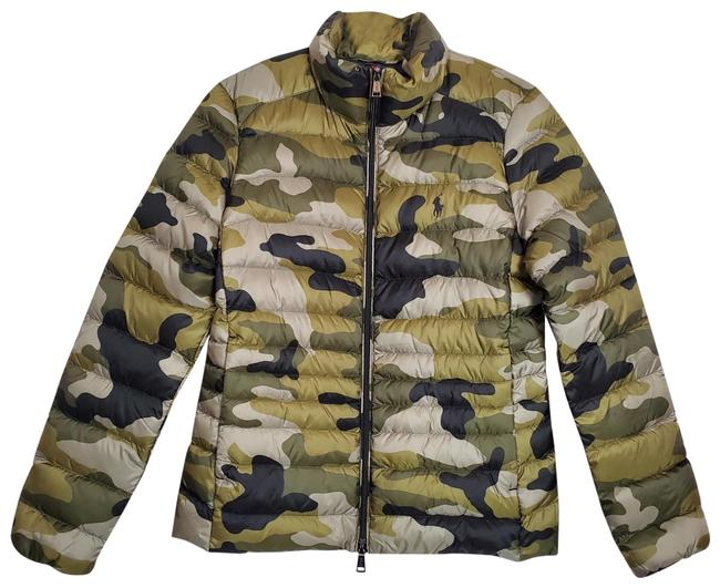 Item - Green / Black Camo Down Puffer Jacket Activewear Size 4 (S)