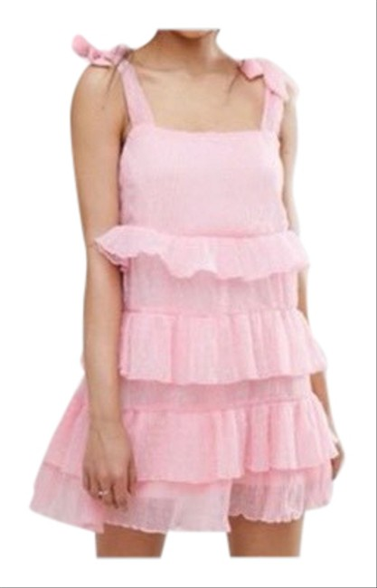 Missguided Pink Shoulder Tiered Ruffle Short Casual Dress Size 4 (S) Missguided Pink Shoulder Tiered Ruffle Short Casual Dress Size 4 (S) Image 1