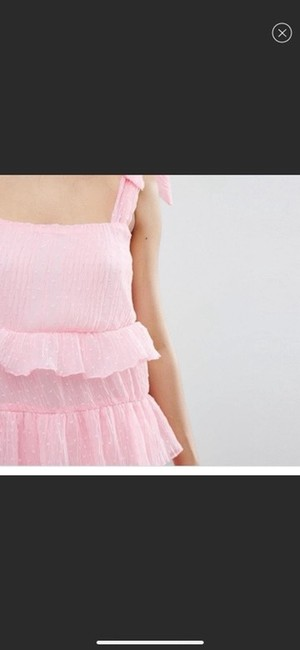 Missguided Pink Shoulder Tiered Ruffle Short Casual Dress Size 4 (S) Missguided Pink Shoulder Tiered Ruffle Short Casual Dress Size 4 (S) Image 2