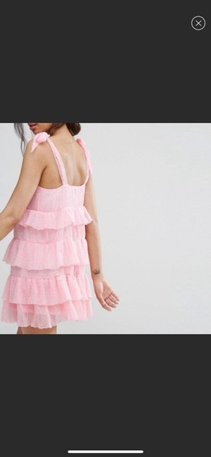 Missguided Pink Shoulder Tiered Ruffle Short Casual Dress Size 4 (S) Missguided Pink Shoulder Tiered Ruffle Short Casual Dress Size 4 (S) Image 3