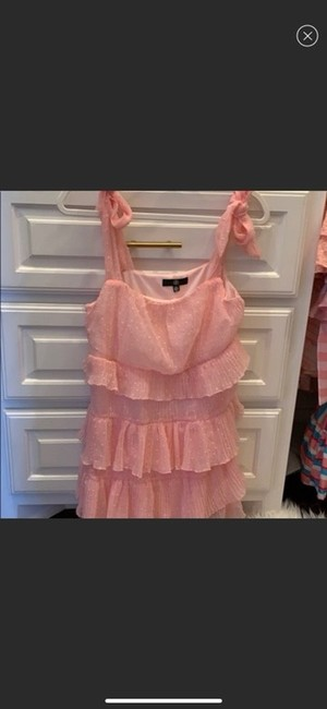 Missguided Pink Shoulder Tiered Ruffle Short Casual Dress Size 4 (S) Missguided Pink Shoulder Tiered Ruffle Short Casual Dress Size 4 (S) Image 4