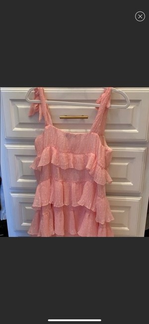 Missguided Pink Shoulder Tiered Ruffle Short Casual Dress Size 4 (S) Missguided Pink Shoulder Tiered Ruffle Short Casual Dress Size 4 (S) Image 6