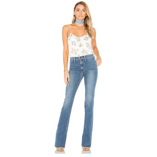 Item - Blue Distressed The Micro High Rise Trouser/Wide Leg Jeans Size 28 (4, S)