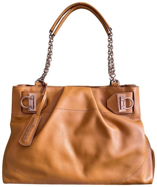 Item - Soft Calf Skin Tote/Satchel with Gold Tone Chain Mustard Yellow Leather Satchel
