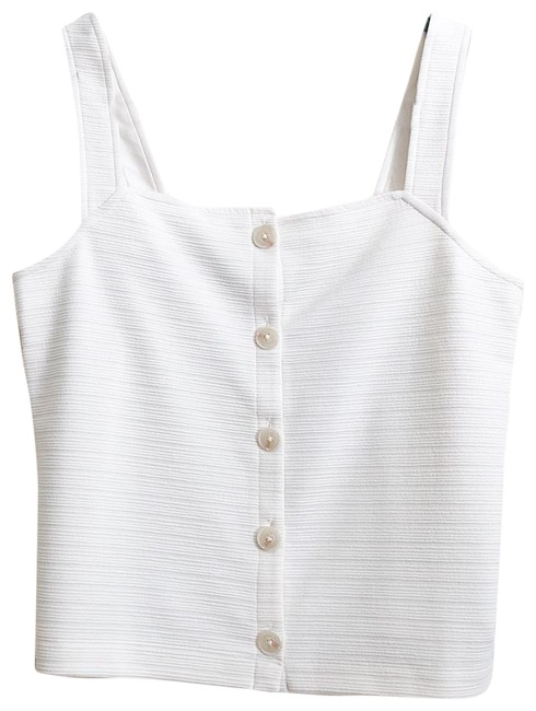 Item - White Textured Button Front Tank Top/Cami Size 8 (M)