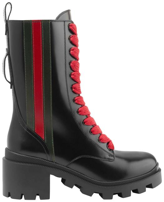 Item - Black Trip Striped Glossed-leather Ankle Boots/Booties Size EU 38 (Approx. US 8) Regular (M, B)