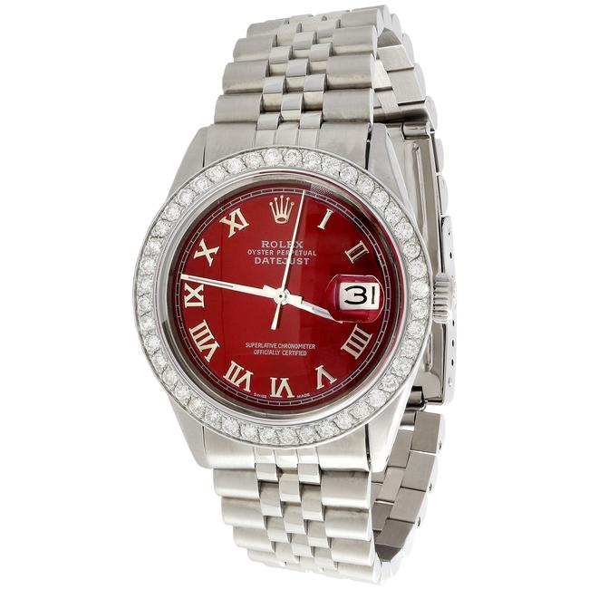 Item - Ss / Red Numeral Dial Mens 36mm Datejust Ref # 1601 Jubilee Band 1.90 Ct Diamond Watch