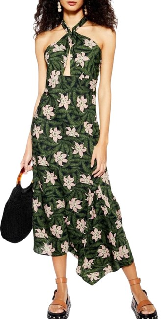 Item - Green Hibiscus Halter Midi Mid-length Night Out Dress Size 8 (M)