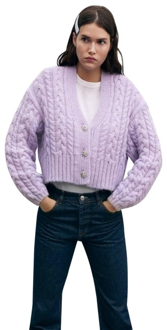 Item - Purple Jewel Button Cable-knit Small Cardigan Size 4 (S)