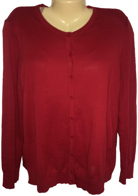 Item - Red XL Long Sleeve Button New Cardigan Size 16 (XL, Plus 0x)