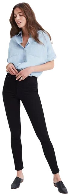 """Item - Black Dark Rinse 10"""" High-rise In Carbondale Wash Skinny Jeans Size 24 (0, XS)"""