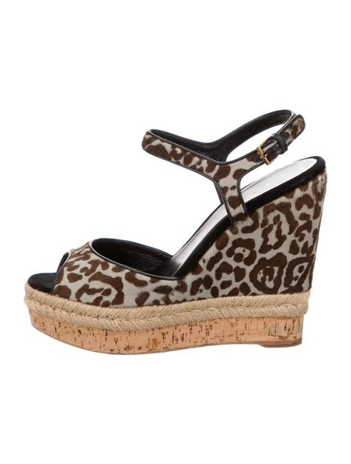 Item - Brown Leopard- Print Calf Hair Espadrille Sandal Wedges Size EU 38 (Approx. US 8) Regular (M, B)