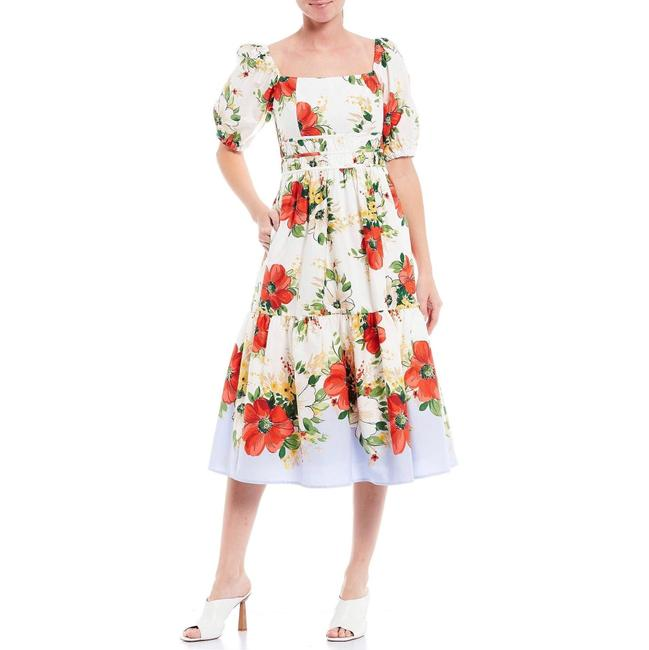 Item - White Red Floral Print Puff Sleeve Mid-length Cocktail Dress Size 14 (L)