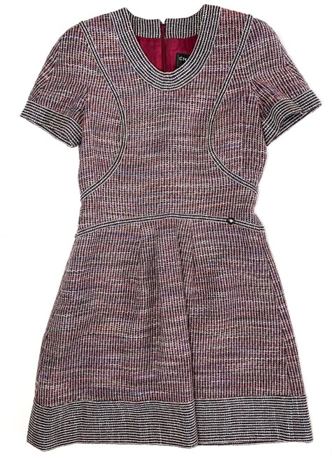 Item - Red Multi Spring 2015 Timeless Tweed Knit Sleeve A-line 40 Short Work/Office Dress Size 8 (M)