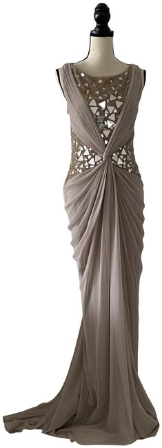 Item - Nude Jeweled Backless Night Long Formal Dress Size 8 (M)
