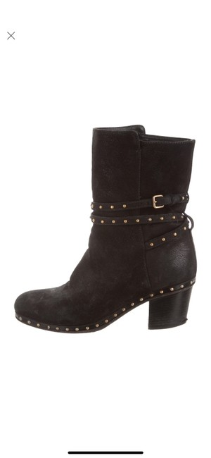 Item - Black with Gold Studs Studded Suede Ankle Stacked Heel Boots/Booties Size US 7.5 Regular (M, B)
