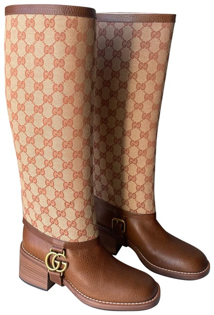Item - Brown Monogram Canvas Leather Gg Knee High Riding Boots/Booties Size EU 36 (Approx. US 6) Regular (M, B)