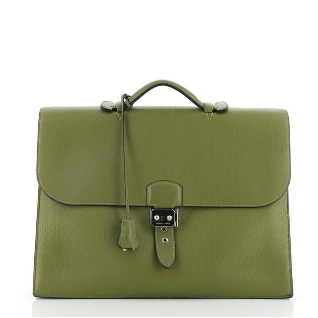 Item - Sac A Depeches 38 Green Leather Tote