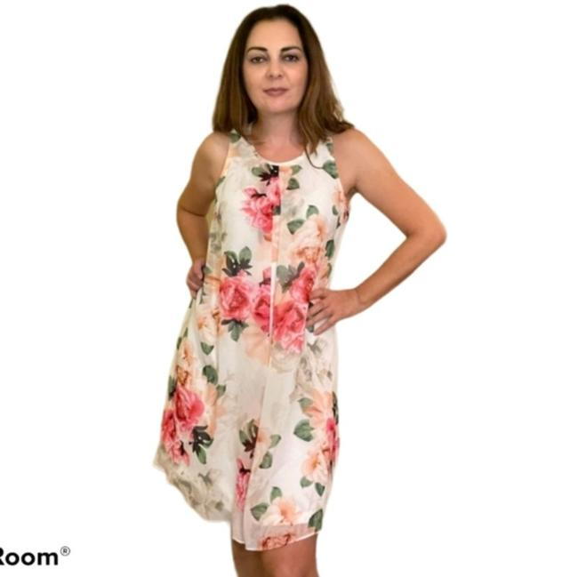 Item - White with Floral Print Short Casual Dress Size 10 (M)