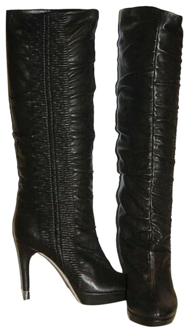 Item - Black Leather Hermitage Slouch Gauffre Pull Boots/Booties Size EU 41 (Approx. US 11) Regular (M, B)