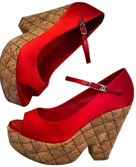 Item - Red Satin Leather Lined Cc Matelasse Quilted Cork Wedge Sandals Platforms Size US 7.5 Regular (M, B)