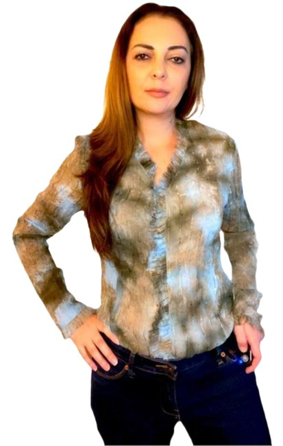 Item - Brown and Blue Crepe Crinkled Sheer Button Down Shirt Blouse Size 12 (L)