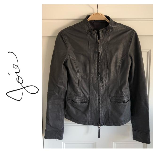 Item - Gray Lambskin Leather ~ Small/Extra Small ~ Zip Front Moto Jacket Size 0 (XS)