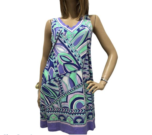 Item - Purple and Green Short Casual Dress Size 6 (S)