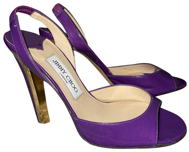 Item - Purple & Gold Open Toe Pumps Size EU 37 (Approx. US 7) Narrow (Aa, N)