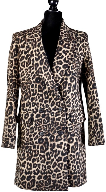 Item - Brown Senna Leopard Double Breasted Dickey Coat Size 2 (XS)