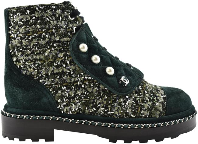 Item - Green 18k Suede Pearl Chain Logo Combat Lace Up Tie Ankle Boots/Booties Size EU 36.5 (Approx. US 6.5) Regular (M, B)